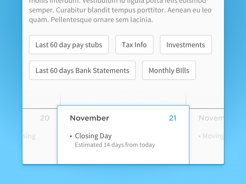 Calendar widget closing mortgage gradient blue round gotham sans source calendar