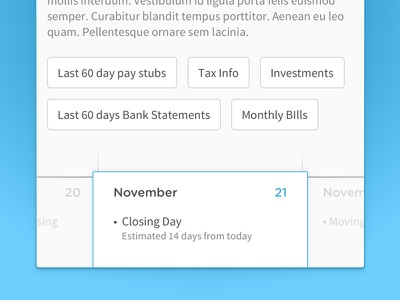 Calendar widget closing mortgage gradient blue round gotham sans source calendar