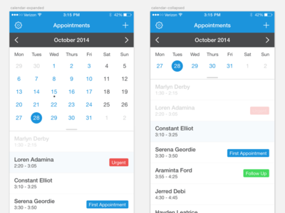 Calendar App Tracking timeframe time tags tracking appointment calendar ui app mobile