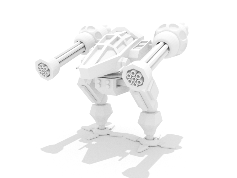 Mech shadow white clay poly low blender c4d robot mech