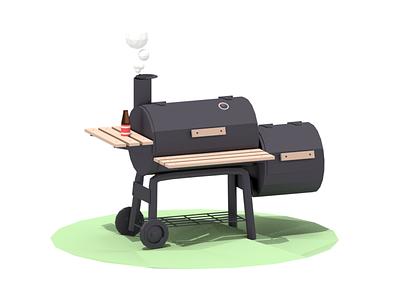 Smoker metal wood wheel bottle beer smoker grill shadow render blender lowpoly 3d