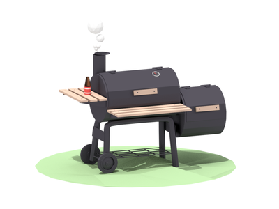 Smoker metal wood wheel bottle beer smoker grill shadow render blender lowpoly 3d