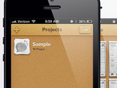 Sample Project iphone 5 sample paper cork proximal nova retina button shadow glare