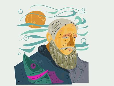 Illustration OLDMAN and Sea vector line flat illustration