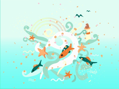 Sea cartoon design vector flat illustration