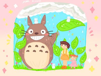 Ghibli My Neighborhood Totoro pt.1🌳✨ procreate art childrens illustration childrens book illustration cute fanart drawing pastel style procreate illustrator design artist art artwork ghibli dribbble illustration graphic design