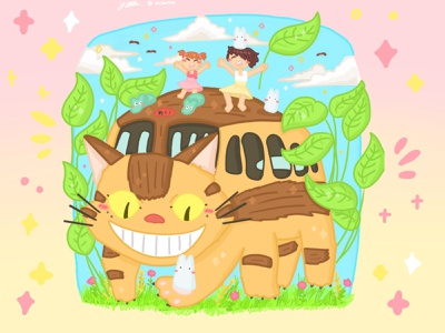 Ghibli My Neighborhood Totoro pt.2🌳✨ graphic design illustration dribbble childrens book illustration ghibli artwork art artist design illustrator childrens illustration procreate procreate art style pastel drawing fanart cute