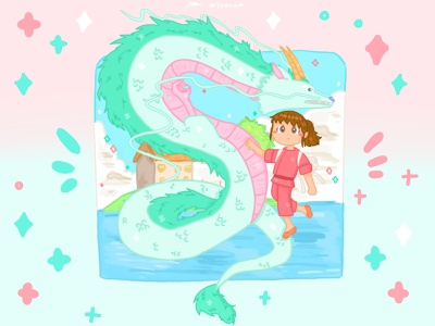 Ghibli Spirited Away pt.1 🐉✨ graphic design illustration dribbble childrens book illustration ghibli artwork art artist design illustrator childrens illustration procreate procreate art style pastel drawing fanart cute