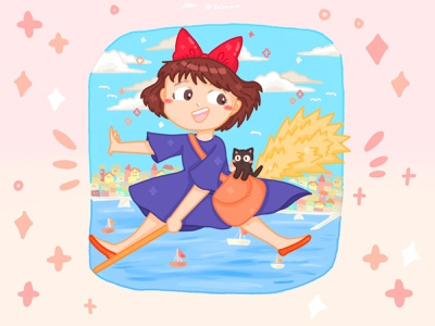Ghibli Kikis Delivery Service pt.1🧹✨ graphic design illustration dribbble childrens book illustration ghibli artwork art artist design illustrator childrens illustration procreate procreate art style pastel drawing fanart cute