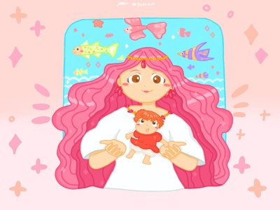 Ghibli Ponyo fanart pt.2🐠✨ graphic design dribbble illustration childrens book illustration ghibli artwork art artist design illustrator childrens illustration procreate procreate art drawing fanart