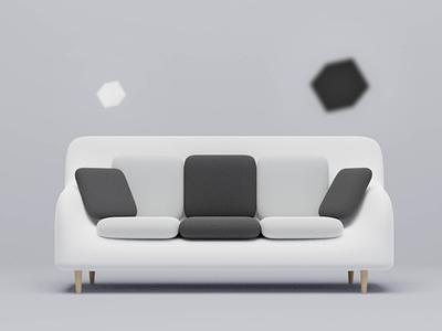 3D Sofa Minimalist dribbble popular interiordesign cleandesign minimalist 3dblender sofa furniture 3dmodeling 3ddesign 3d