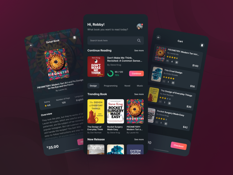 Book Store Mobile Apps - Dark Mode uiux branding freelancer illustration mobile app design design ui mobile ui app dribbble