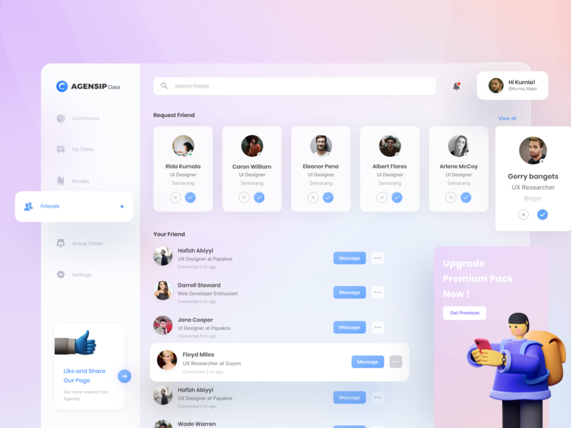 Agensip Class - Dashboard creative blurry glassy clean ui website features dribbble like video conference uiux clean popular class classy online course clean dashboard dashboad courses