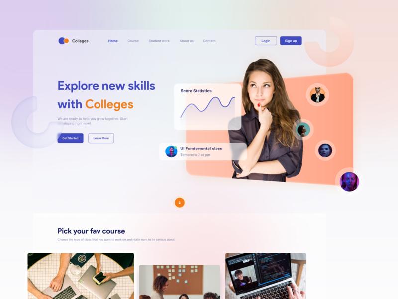 Colleges - Landing Page - Courses mentoring online course clean ui freelancer freelance ui design uiux dribbble clean web landing page
