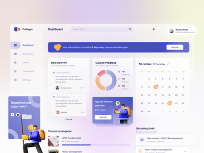 Collages - Dashboard design freelance mentoring work online course dashboard clean design app freelancer ui uiux dribbble