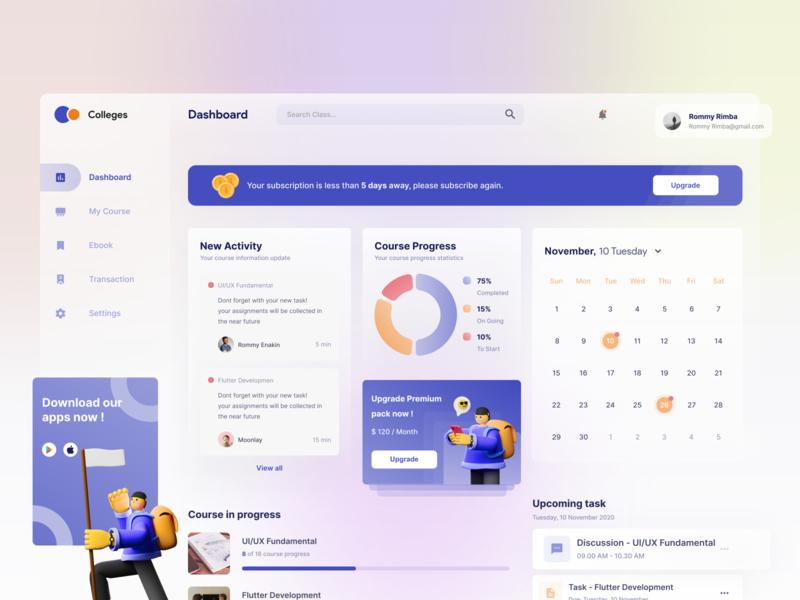 Collages - Dashboard design freelance mentoring work online course dashboard clean design app freelancer ui uiux dribbble