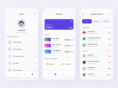 Visz - Finance Mobile Apps - Part 2 transaction wallet ui profile money app popular clean mobile finance app finance mobile ui mobile app design ui design freelance freelancer app uiux dribbble