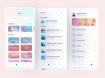 PodChess - Podcast Mobile App - Last Part popular design popular shot popular podcasting podcasts podcast art podcast mobile app design clean ui clean uiux mobile ui design freelance ui freelancer app dribbble