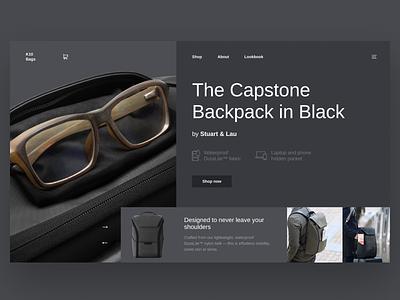K10 Bags Shop website minimal fullscreen desktop bag ux ui shop design case