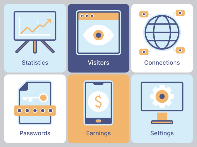 Icons for analytics platform website features illustation colors analyst cards icons