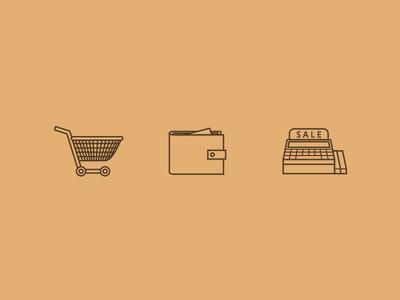 Ecommerce Design wallet trolly till ecommerce. cart