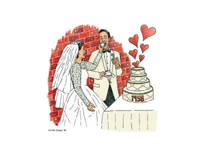 The Karls mixed media love wedding illustration drawing painting watercolor anniversary couple illustration