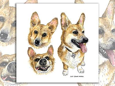 Dudley - 2021 corgi dog animal watercolor painting drawing illustration