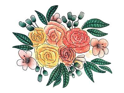 Crazy Floral plants nature leaves illustration painting watercolor bouquet flowers floral