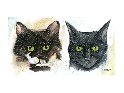 Bonded Pair painting animal cat illustration cats watercolor