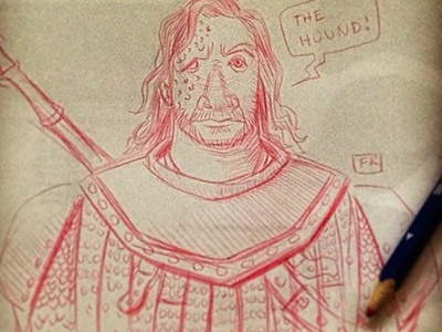 The Hound game of thrones the hound hound sketch doodle colored pencil character