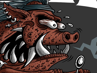 Mr. Pig pig hog hawg animal piggy pork illustration drawing detail crazy frgraphix fernando regalado
