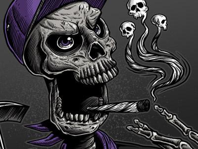 Skull Smoke skull illustration design graphic design frgraphix fernando regalado dead bones drugs line art detail