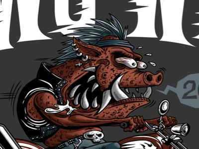 Razor Pig pig pork illustration crazy frgraphix fernando regalado skull chopper biker