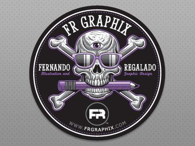 Self-Promotional Sticker Design frgraphix fernando regalado skull design illustration crossbones sunglasses sticker third eye