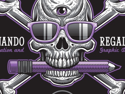 Self-Promotional Sticker Design (Close-up) frgraphix fernando regalado skull design illustration crossbones sunglasses sticker third eye