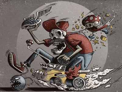 Dead Kart mario kart super mario skull racing print illustration detailed grunge textured