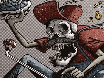 Dead Kart (detail) mario kart super mario skull racing print illustration detailed grunge textured