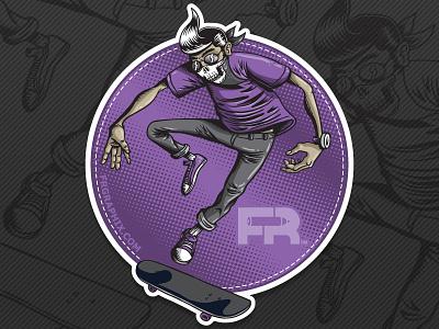 Thrasher Sticker skateboard sticker competition sticker mule skater bandana purple gray halftone