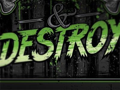 Destroy typography type grunge distressed texture custom print art illustration graphic design ampersand
