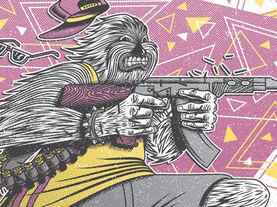 Skate Wars yeti snapback triangles pattern texture distress ak47 gun
