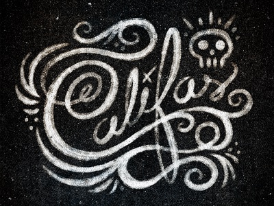 Califas Scribble type text hand made script texture skull swirls hand rendered grunge distressed typeography typografia