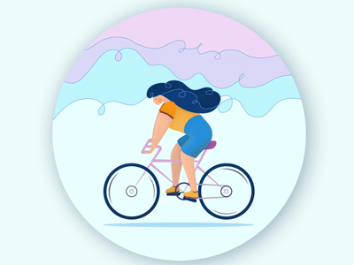 Cycling illustraion woman cyclist bicycling bicycles bicycle ride riding bike cycling