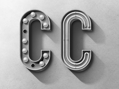 Vintage C vintage typography photoshop shadow black and white texture bulb neon sign type retro