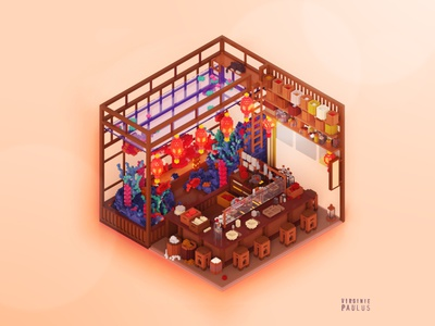 ramen are ready ! magicavoxel cubes voxel logo sushi ramen asian asianfood cube icon food diorama architecture 3d