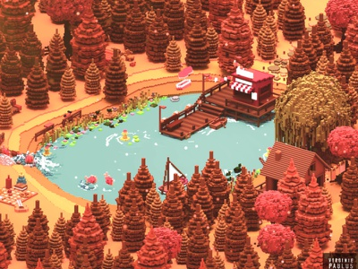 autumn vibes chill landscape cubes isometric leaves lake 3d voxel diorama cube illustration autumn