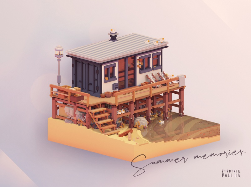 "tinyhouse with sea view "" SKWAAAAK "" (happy seagulls noise)) water minecraft block modular tinyhouse tinyart summertime summer video game art game design game art voxelart magicavoxel cubes isometric cube 3d architecture voxel diorama"