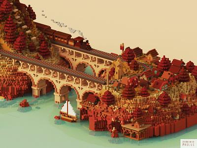 choo choo voxelart video game art cube magicavoxel travel sncf rail train isometric cubes voxel diorama