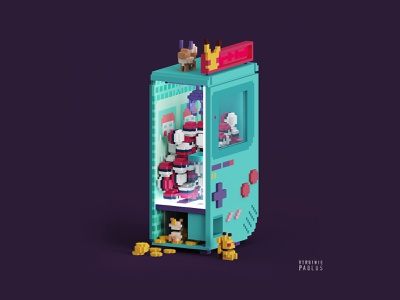 Gotta catch'em all ! fanart video game art cubes illustration isometric illustration claw machine gameboy color game boy isometric magicavoxel nintendo pikachu pokeball pokémon pokemongo video game voxel voxelart