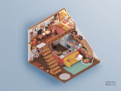 student apartment in paris cozy cozy place cozy home tiny home tiny house render gameart miniature blocks minecraft dollhouse voxelart architecture diorama illustration magicavoxel isometric voxel tinyhouse student life