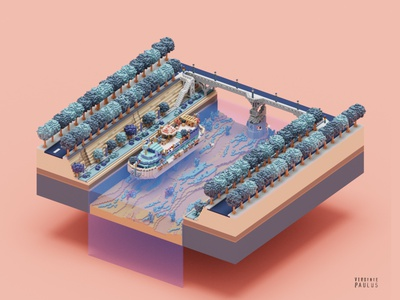 floatting home city urban river ship boat barge peniche illustration diorama voxelart magicavoxel isometric voxel tinyhouse